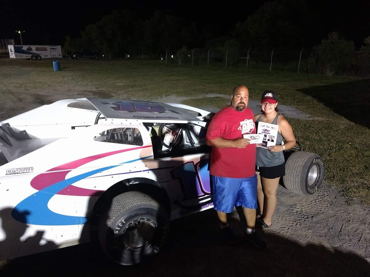 Proud father in victory lane